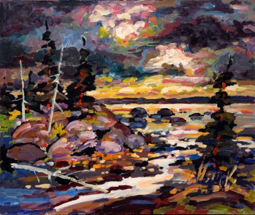 20x24 Ruisseau vers le fleuve aux couleurs du matin 72dpi800p(722)