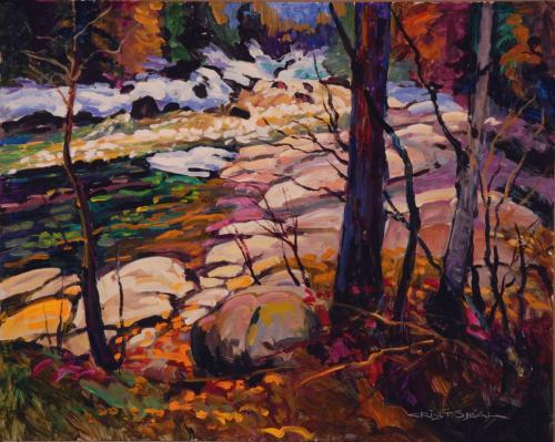 24x30 Fin d'hiver au bord de la rivière, Baie St-Paul 120dpi6p(931)